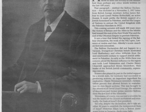 מאה שנה להצהרת בלפור, ה- Jerusalem Post, מ- 09.06.2017