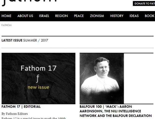 """רשת ניל""""י והצהרת בלפור, מתוך Fathom Journal הבריטי, קיץ 2017"""